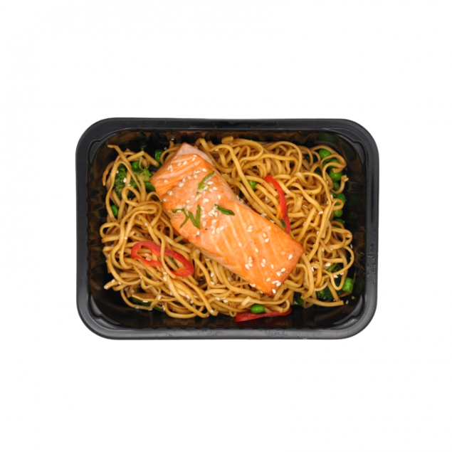 Salmon with Ginger & Soy Noodles and Wok Veg